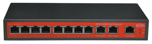 8FE+3GE Ports Switch with 8-Port af/at PoE 120W