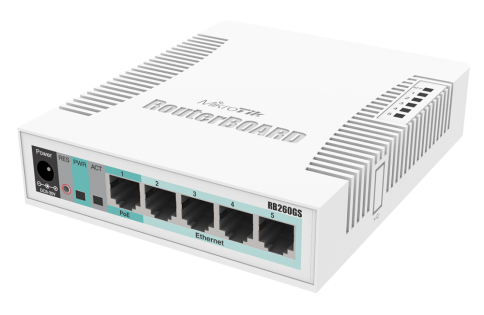 5x Gigabit Ethernet Smart Switch, SFP cage (RB260GS)